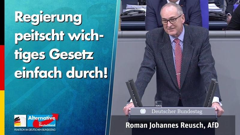 Regierung peitscht wichtiges Gesetz einfach durch! Roman Reusch AfD Fraktion im Bundestag