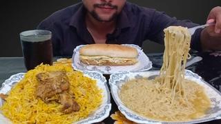 OMG BIG BURGER CHICKEN BIRYANI AND MAGGI EATING ASMR MESSY FOOD EATING SHOWMUKBANG SOCIAL EATING