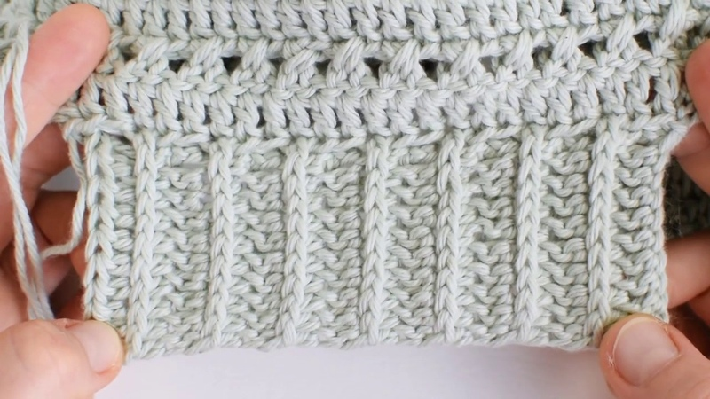 Joining half double crochet ribbing to a garment as you go.