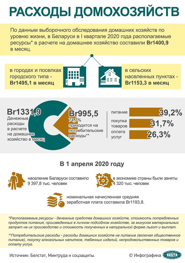Больше всего средств белорусы тратят на питание и покупку непродовольственных товаров - Белстат