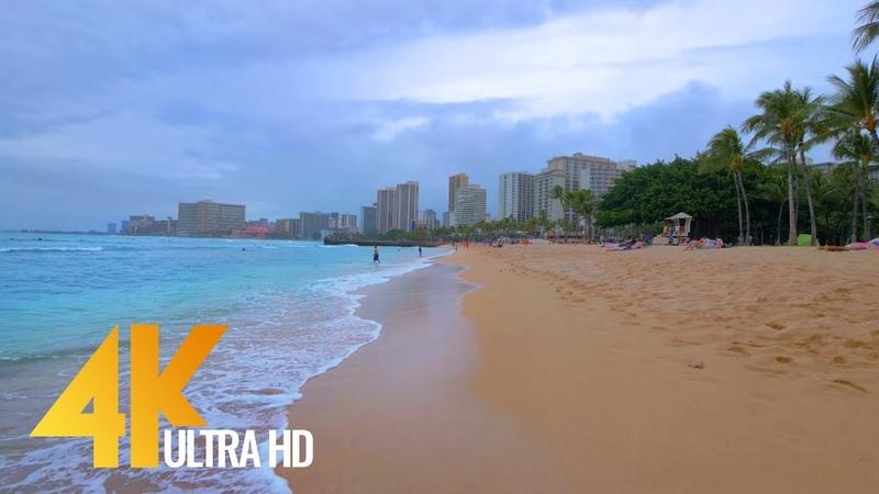 4K Virtual Tour Waikiki Beach Oahu Hawaii 2 Hours Relaxations Video