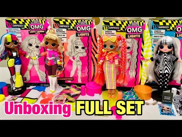 LOL Surprise LIGHTS OMG Dolls Unboxing Full Set - Angles, Speedster, Dazzle, Groovy Babe