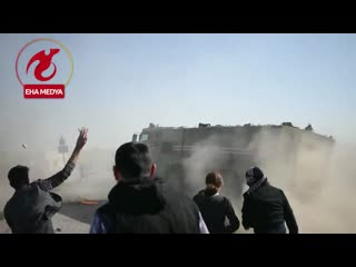 Pkkypg terror sympathizers attack the turkish-russian convoy conducting a joint patrol in syrias ain-al arab