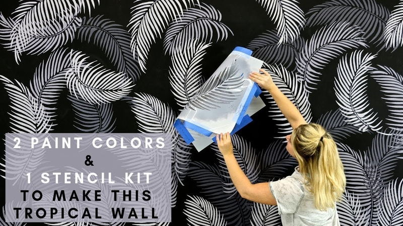 How To Stencil A Palm Fronds Tropical Wall With 2 Paint Colors 1 Wall Stencil Kit