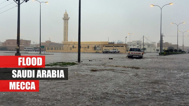 Saudi Arabia Flood storm wind and hail near Mecca Natural disasters compilation