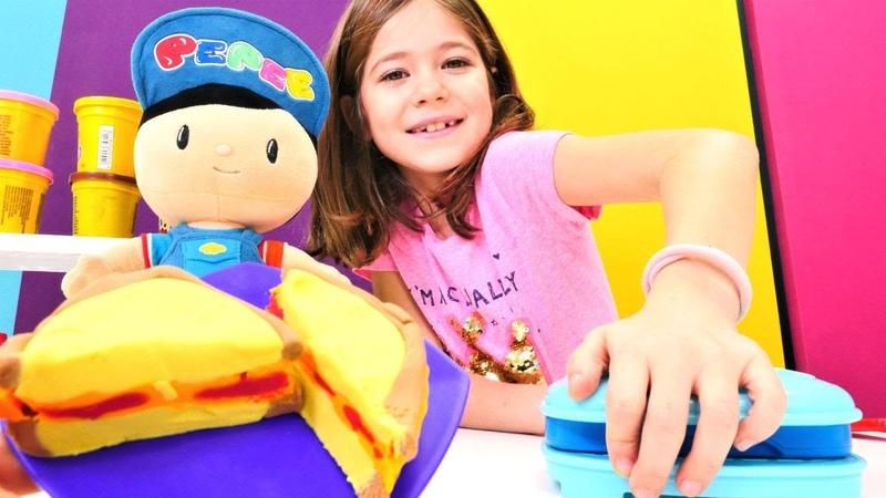 Play Doh oyun hamurundan Pepee için peynirli tost Çizgi film oyuncakları