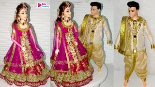 Barbie doll in INDO WESTERN Lehenga   How to make barbie lehenga   Barbie jewellery videos