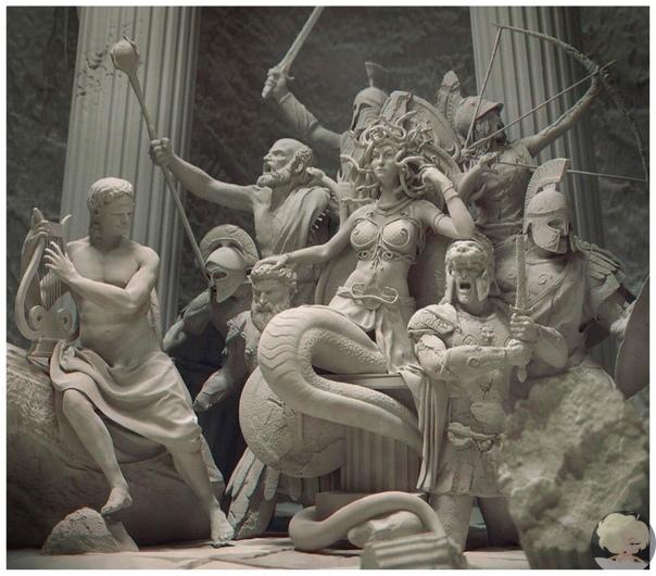 По задумке автора, трон Горгоны Медузы сделан из врагов, окаменевших под ее взглядом
