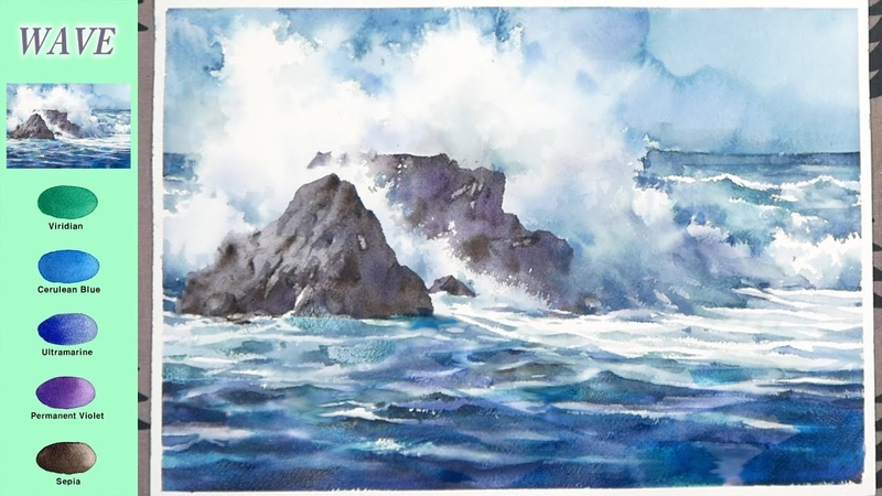 Without Sketch Landscape Watercolor - Wave (color mixing, Arches) NAMIL ART