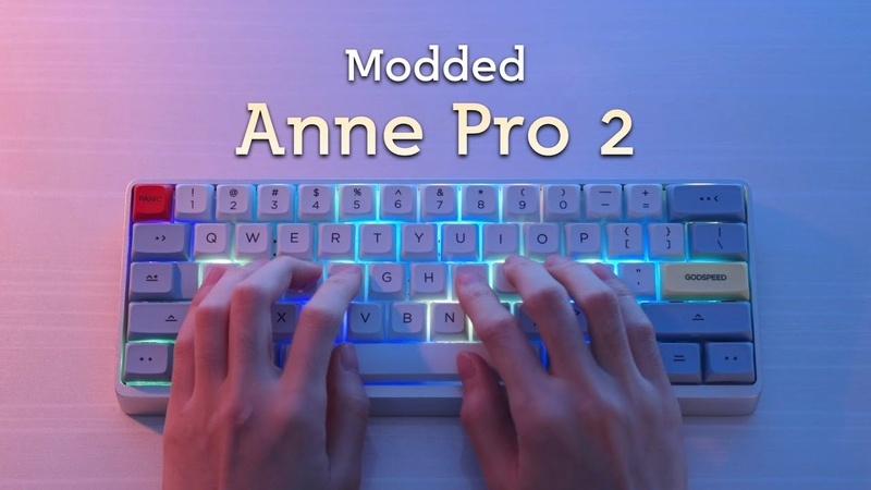 Stock Modded Anne Pro 2 Typing Sounds Comparison (Gateron Blues Halo Clears)