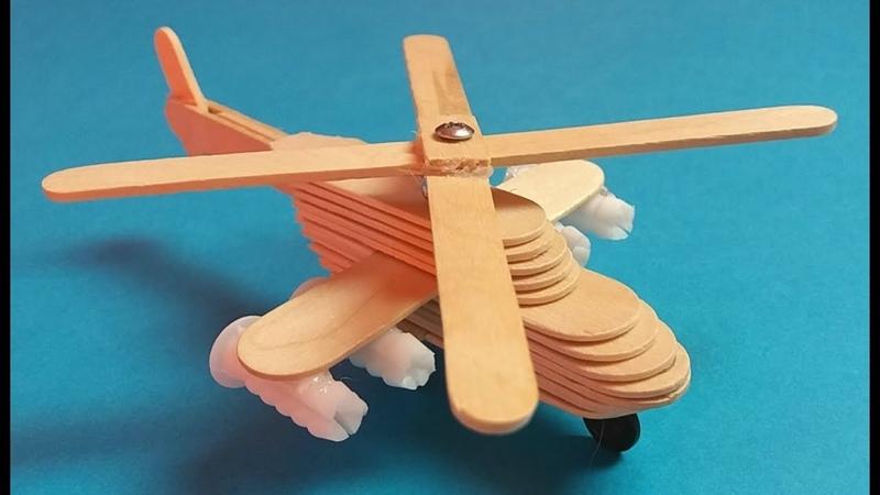 Como hacer un helicóptero con palillos de helado. Muy fácil