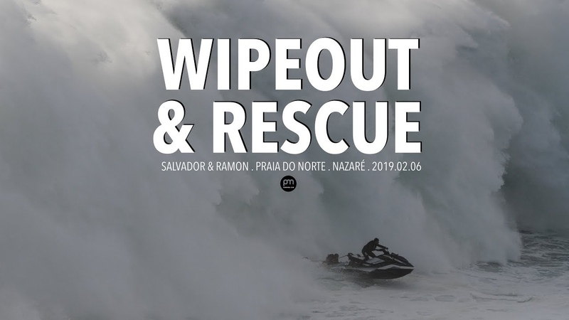 Wipeout Heroic Rescue . Raw Footage @ Nazaré, Portugal - 2019.02.06 [Surf, Big Waves, 4K]