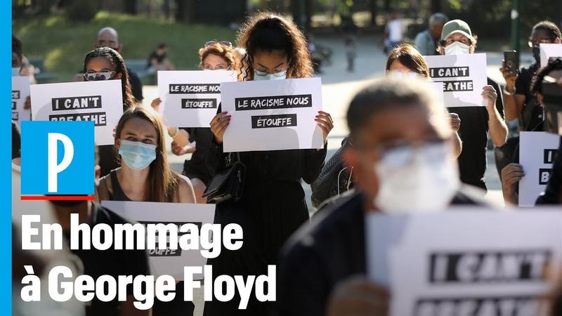 George Floyd ils se mettent à genoux devant l'ambassade des Etats Unis à Paris