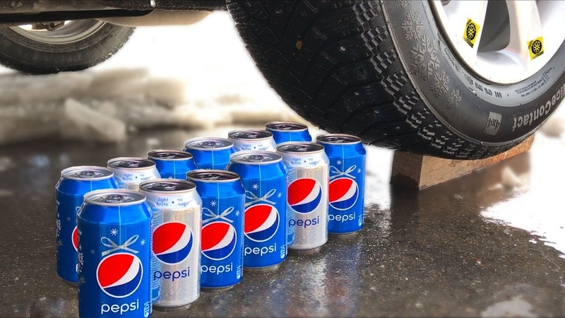 Crushing Crunchy Soft Things by Car Experiment Car vs Pepsi Pop Corn and more
