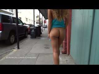 flashing sexy big ass public braless short dress upskirt without panties no bra voyeur публично показывает попку без трусиков