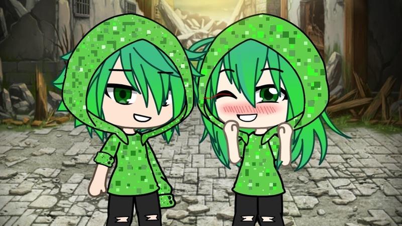 Гача лайф клип Зелёный крипер няшка