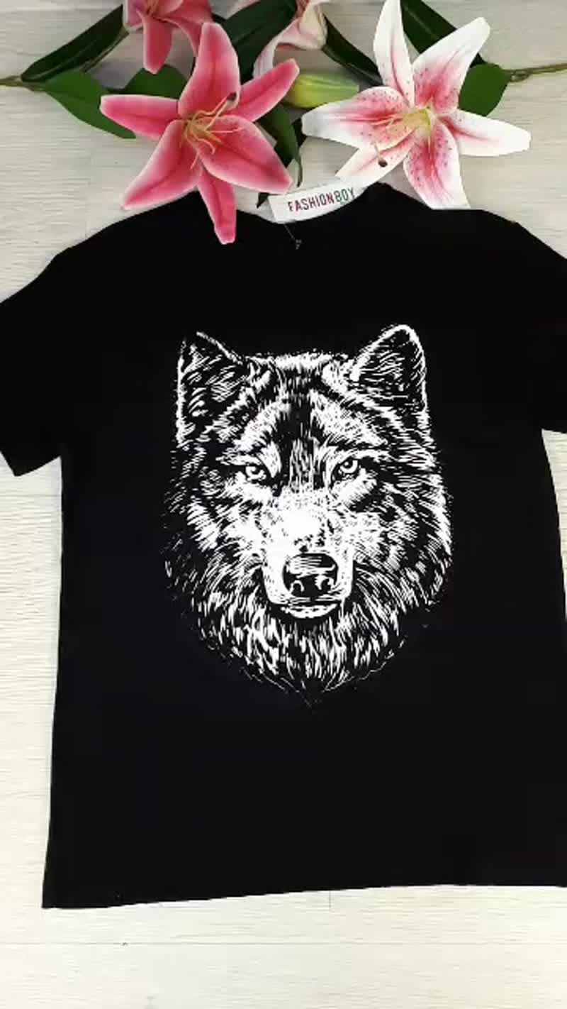 футболка мужская с принтом волк