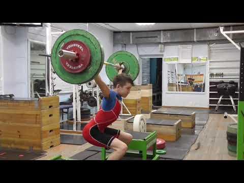 Шумихин Артур 13 лет вк 41 Рывок в полуприсед с плинтов 40 кг