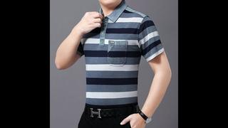Мужская повседневная рубашка поло, синий, серый, желтый, в полоску, контрастный цвет, хлопковые топы для мужчин, для отдыха,