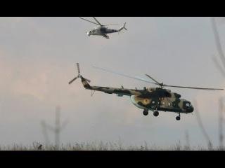 Донецк над захваченным аэропортом летают  вертолеты украинских ВВС.