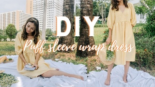 DIY Puff sleeve wrap dress   Finding my perfect Spring dress - Episode 4