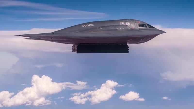 B2 Spirit Stealth Bomber Drops GBU-57A/B Massive Ordnance Penetrator (MOP) Невидимка Б-2 Дух сбросил бомбу массового поражения