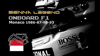 SENNA Legend | ONBOARD Lap » Comparison | 1986-87-90-93 F1 GP Monaco (Ayrton Senna: Lotus & McLaren)