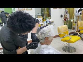 Ледяной блондин, обесцвечивание коротких волос пастой _ Ice blonde bleaching short hair with paste
