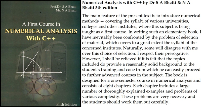 Numerical Analysis with C++ by Dr S A Bhatti & N A Bhatti 5th edition