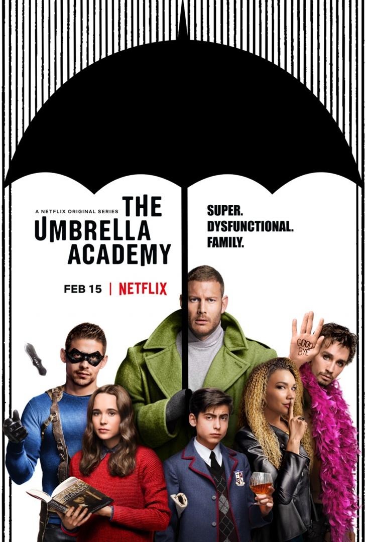 Академия Амбрелла Это сериал в сюжете которого действия происходят 1 октября 1989 года. В один и тот же день на свет появились 43 ребёнка со сверхъестественными способностями, семерых из которых усыновил эксцентричный миллиардер сэр Реджинальд Харгривс , создавший из них ,, Академию Амбрелла'' где дети развивают свои таланты и вырастают становясь командой супергероев.После смерти своего приёмного отца они приезжают на похороны , где через пару дней узнают что мир в опасности и только они могут его спасти.