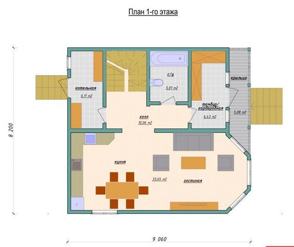 Эскиз проекта двухэтажного дома #проектдома@my.stroyka  Площадь: 147,2 м2
