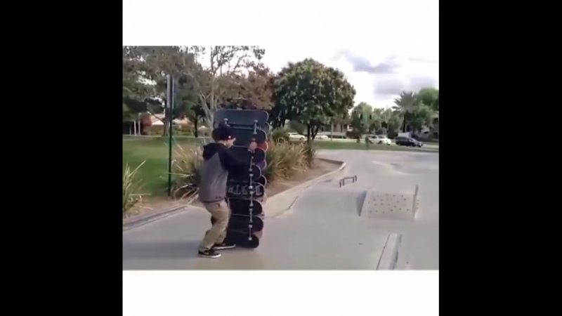 Jump over a 15 skateboard stack