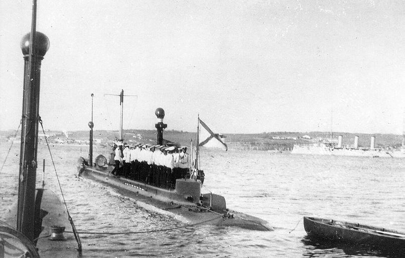 Подводная лодка «Карп» на императорском смотре Черноморского флота, 1913 год