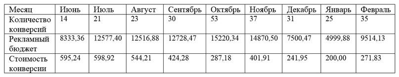 Cтатистика в Google за период проведения рекламной кампании.Средняя стоимость конверсии с сайта составила – 396,17 руб.За 9 месяцев было получено 269 целевых действий.
