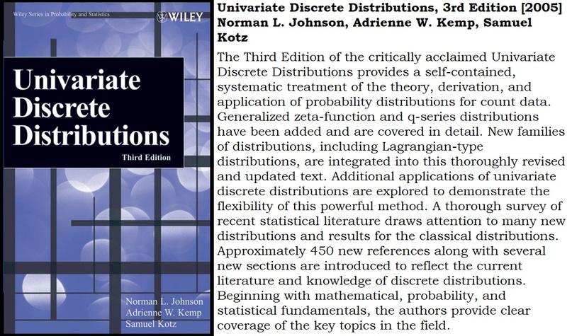 Univariate Discrete Distributions, 3rd Edition [2005] Norman L. Johnson, Adrienn...