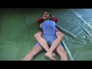 Bodybuilding girl wrestling full nelson-bodyscissor kid fight