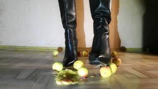 Alisa's exclusive Crush Fetish in high heels boots. fruit crush