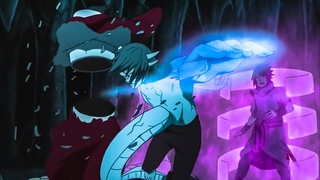 """Саске и Итачи против Кабуто/Сила Учиха-""""Изанами""""/Пятерка Каге сражаются с Мадарой."""
