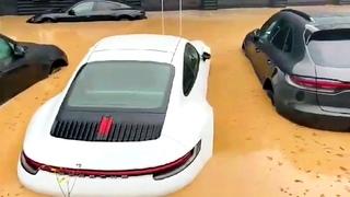 Brand New Porsches Under Water In German Dealership After Disastrous Rains