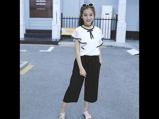 Комплект летней одежды для девочек подростков одежда детей 4 6 8 10 12 14 лет топ с рюшами + широкие