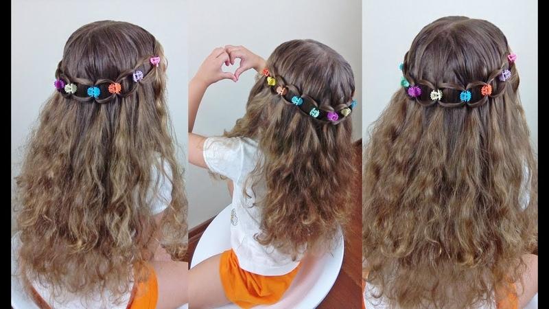 Penteado Infantil arco com cabelo e piranhinhas