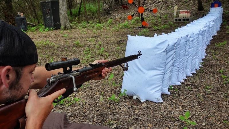 Сколько подушек пробьет винтовка Мосина! | Разрушительное ранчо | Перевод Zёбры