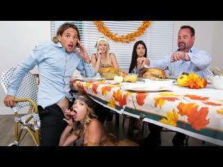 Jessie Saint, Katie Kush - My Step Cousins Cum For Thanksgiving (Blonde, Blowjob, Cowgirl, Creampie, Deep Throat, Threesome)