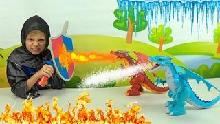 Огненный и Снежный ДРАКОНЫ против рыцаря Даника. Интерактивные Игрушки Pets & Robo Alive